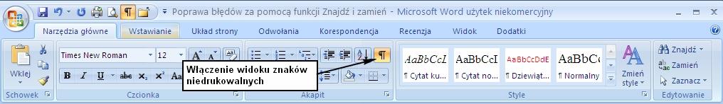 Klawisz włączający podgląd znaków niedrukowalnych na ekranie Worda 2007