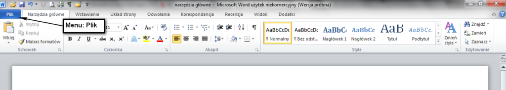 Powrót zakładki menu Plik w Wordzie 2010