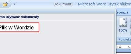 Menu Plik w MS Word 2010