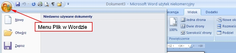 Umiejscowienie menu Plik w MS Word 2007
